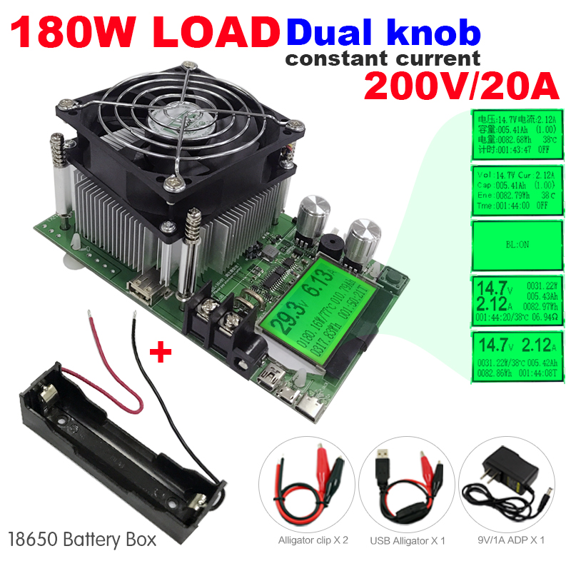 180W Digital capacity tester power supply indicator dc 200V electronic load discharger resistor usb check test