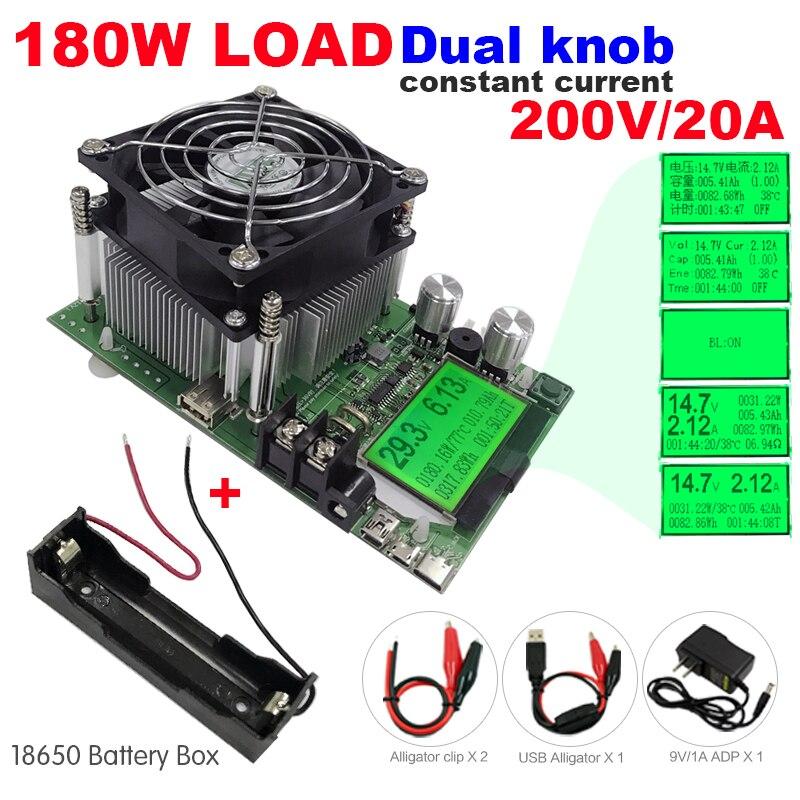 180 W testeur de capacité numérique indicateur d'alimentation dc 200 V résistance de déchargeur de charge électronique test de contrôle usb + 18650 boîtier de batterie
