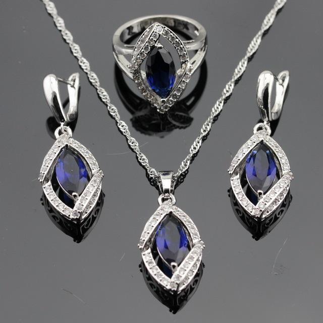 Made in China Azul Escuro Pedras Brancas CZ Conjuntos de Jóias de Cor Prata Para As Mulheres Brincos/Colar/Pendente/anéis de Caixa Livre