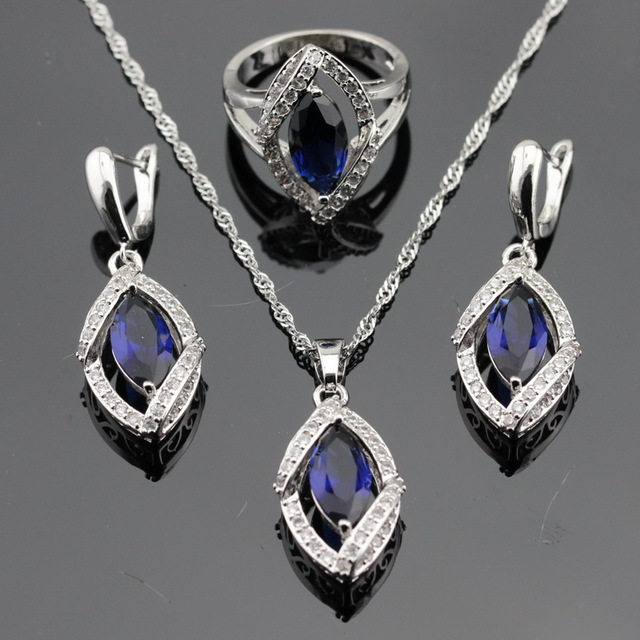 Made in China Dark Blue Stones White CZ Silver Color Jewelry Sets For Women Earrings/Necklace/Pendant/Rings Free Box