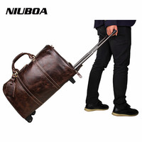 Genuine Leather Men Bags 100% Cowhide Drawbar Travel Bags Fashion England Style Business Luggage Bags Male Duffles