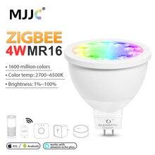 ZIGBEE MR16 LED Spotlight 4W RGBCCT Blub DC 12V Smart Spot Light Lamp Work with 3.0 Gateway Hub Amazon Echo Plus