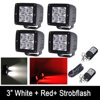 Pack 4 White Red Blue Green Amber Dual Color Strobeflash LED Work Light Bar 3X3 Cube