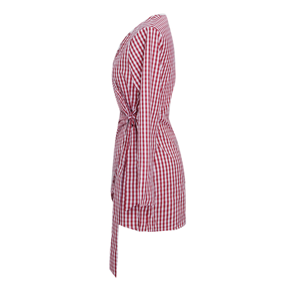 37c85a343e5 Women Plaid Dress Asymmetric Mini Summer Dress Tie Side Wraparound V Neck  Long Sleeves Ruched Casual Elegant Ladies shirt dress-in Dresses from  Women s ...