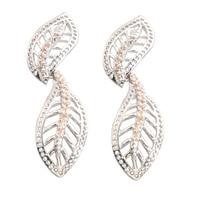 Leaf Shape Brown Morganite 2 2mm Semi Precious Silver Cool For Womens Stud Earrings ED0394