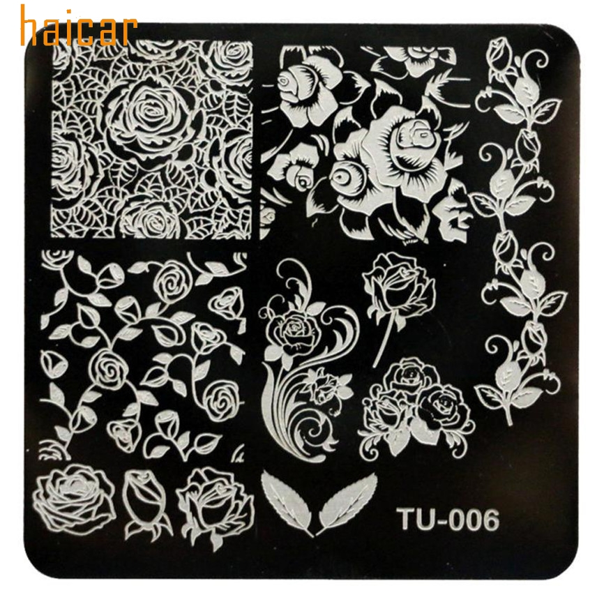 HAICAR Love Beauty Female 1pcs lot DIY Rose Flowers Nail Art Image Stamp Stamping Plates Manicure Template 161130 Drop Shipping
