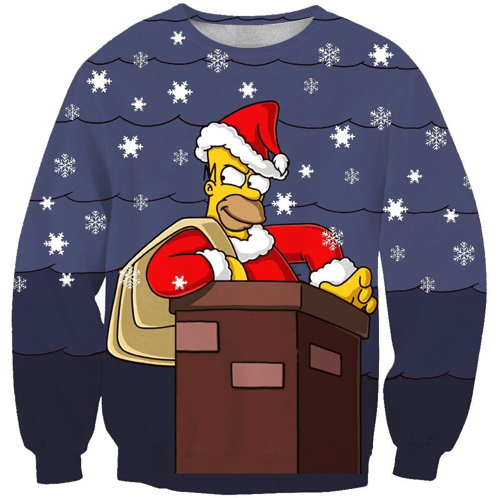 Baru kedatangan fashion unisex sweatshirt 3d simpson kartun cetak sederhana kasual putih relaksasi besar pakaian gratis pengiriman di hoodies kaus dari