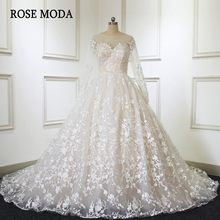 Rose Moda Long Sleeves Wedding Dress 2019 Ball Gown Train