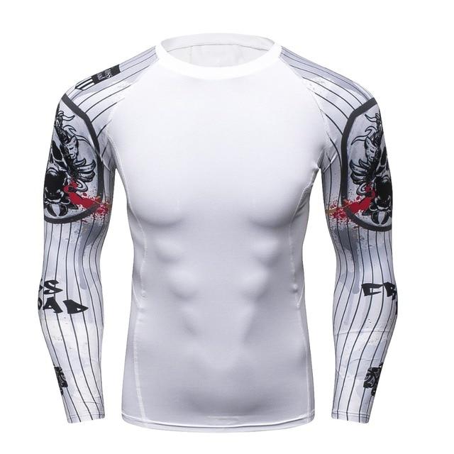Фитнес 3D футболка с длинным рукавом Для мужчин Бодибилдинг кожу жесткой Термальность сжатия Мужской Футболка crossfit тренировки Топы корректирующие брендовая рубашка