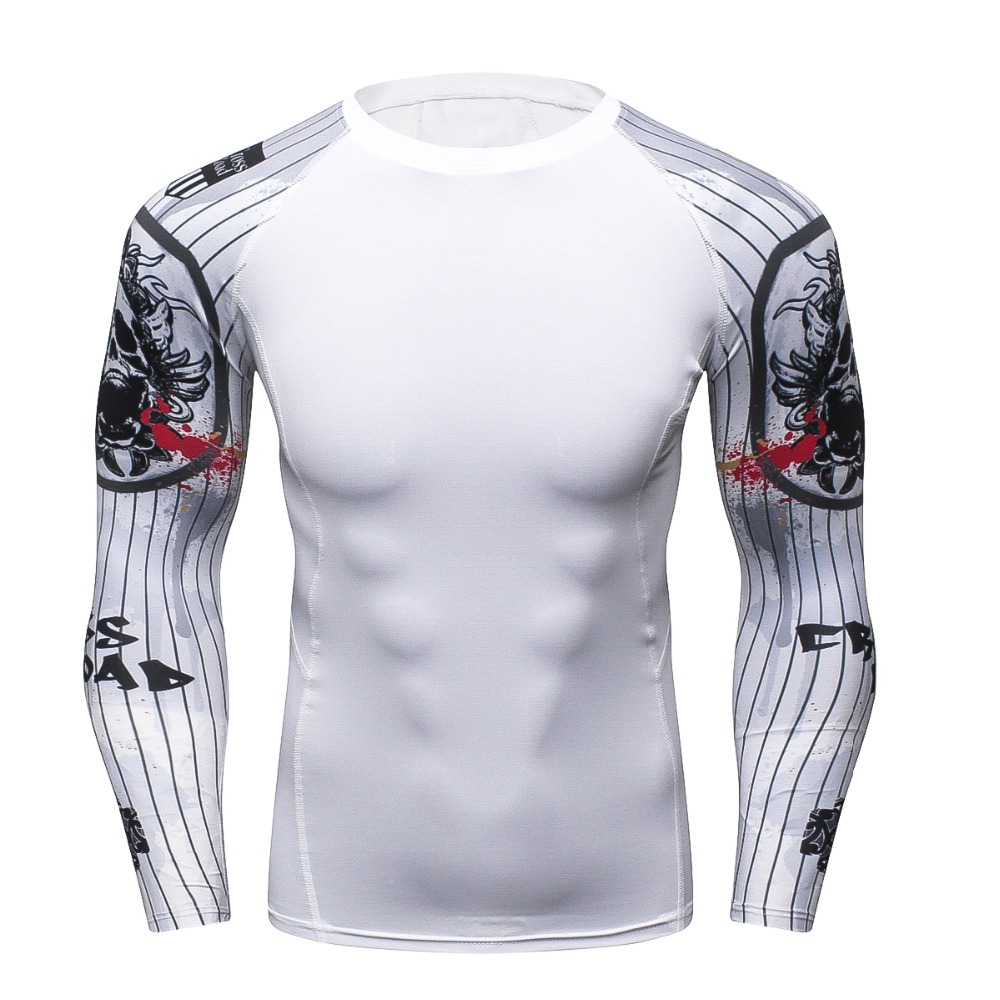 Fitness 3D Long Sleeve T Shirt Men Bodybuilding Skin Tight Thermal Compression Male T Shirt Crossfit Workout Tops Brand Shirt
