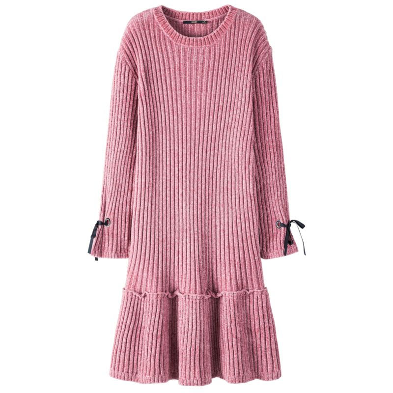 SEMIR Women Rib-Knit Flared Sweater Dress in Soft Chenille Yarn with Ties at Cuff Ribbing at Crewneck Long-sleeved Knit Dress 33