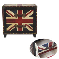American country retro bedside table classic pattern wood leather decoration cabinet bedroom furniture storage cabinets organize
