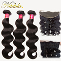 3 Bundles With Frontal 13x4 Ear to Ear Peruvian Body Wave With Closure 7A Lace Frontal Closure With Bundles Tangle free