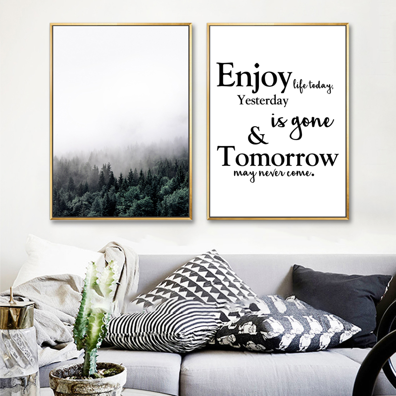 Canvas painting nordic decoration wall art poster forest home decor landscape camera photo