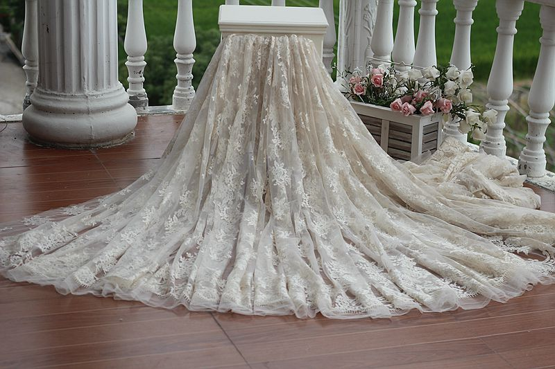 Free shipping width140cm Light gold Vintage Wedding Lace Fabric Dress Bridal Veil Floral Embroidered Tulle Lace Fabric