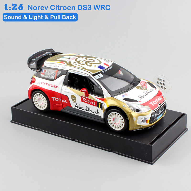126 scale child mini norev citroen ds3 wrc champions pull back sound light metal diecast model race auto cars toys for kid 2017