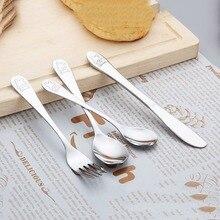 4 шт./компл. детской посуды чайная ложка Вилка Ножи посуда набор Нержавеющая сталь для малышей и детей постарше обучения привычек питания, безопасная посуда для детей