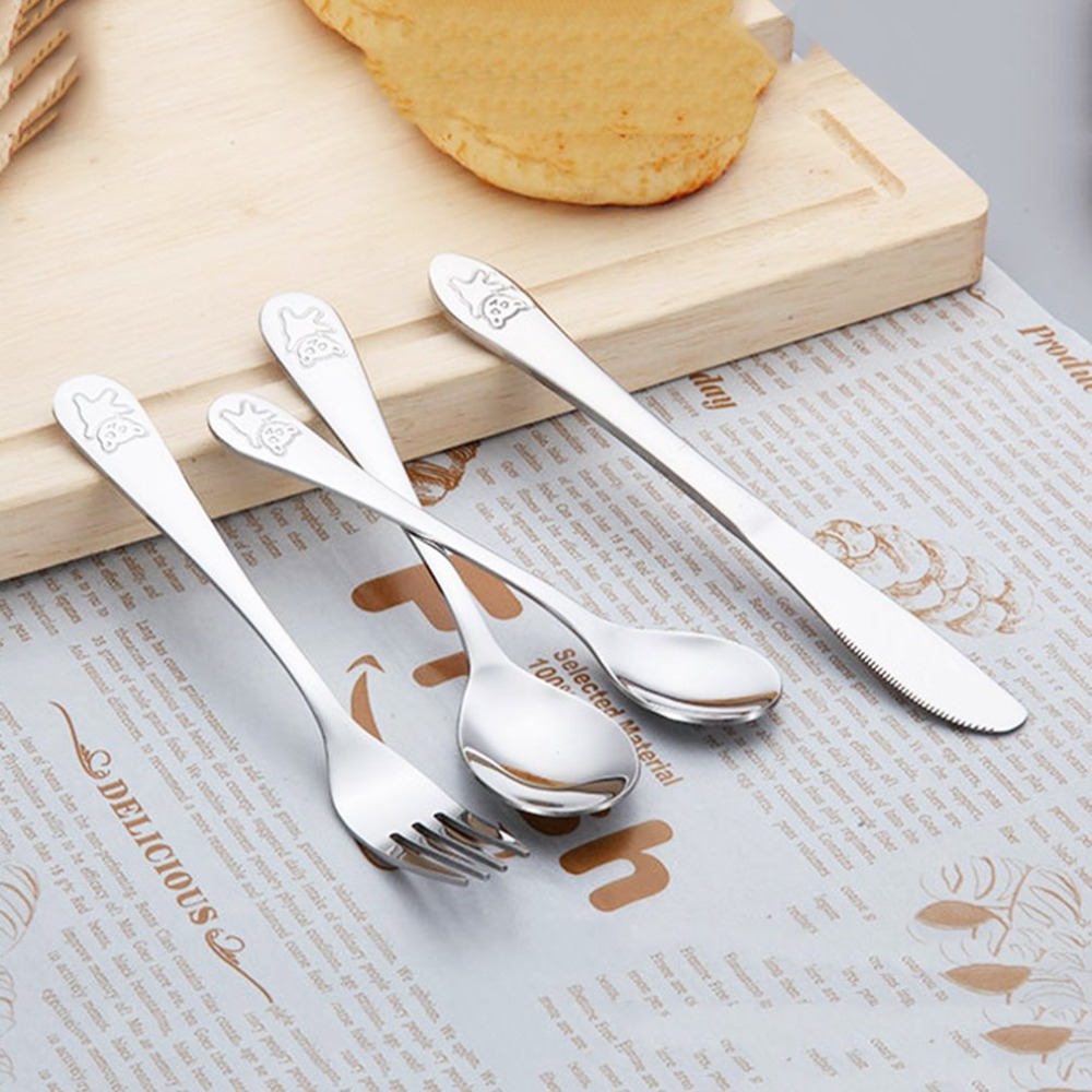4pcs/set Baby Dishes Teaspoon Spoon Fork Knife Utensils Set Stainless Steel Baby Kids Learning Eating Habit Children Tableware