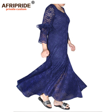 2018 africa clothing casual lace dress for women AFRIPRIDE three quarter ruffles sleeve ankle length A18L25001