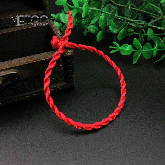 METOO 1 шт. модный браслет с красной нитью, счастливый красный зеленый браслет из веревки ручной работы для женщин и мужчин, ювелирные изделия для влюбленных пар
