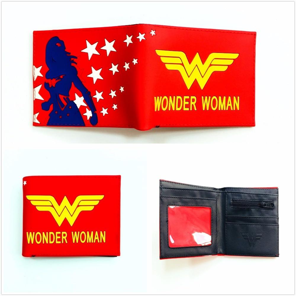 Marvel Comics кошелек Wonder Woman кошелек супер герой с коротким ПВХ кошелек для подростка Bi-fold держатель для карт кошельки W1090Q