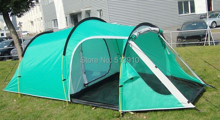 ФОТО 2017New style!3-4persons one bedroom & one living room double layer tunnel family and party camping tent