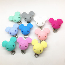 Chenkai 10pcs BPA Free Silicone Mouse Clips DIY Baby Teether Pacifier Dummy Montessori Sensory Jewelry Holder Chain Mickey