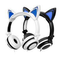 Plegable caliente Intermitente Glowing Cat Ear Headphones Gaming Mikrafon fone de ouvido Auriculares con Luz LED Para Smartphone Portátiles
