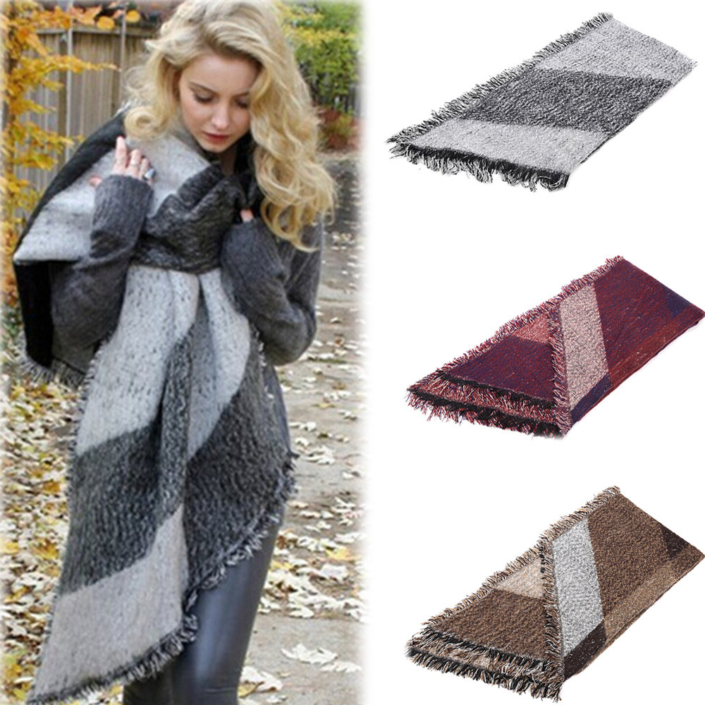 Winter Men Classic Shawl Fringe Stripe Tassel Long Soft Warm Scarf winter necks and scarves scarf for women new шарф женски(China)