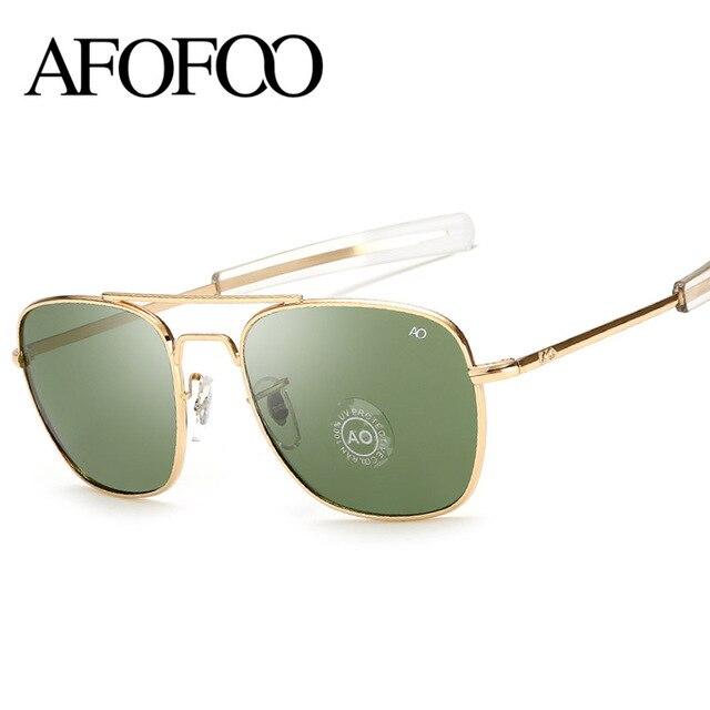 AFOFOO AO Vidro Do Vintage Clássico Óculos De Sol Da Marca Homens de Design  de Moda 0682ff452b