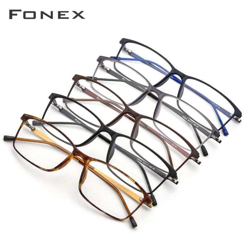 FONEX TR90 alliage lunettes de Prescription hommes myopie oeil verre lunettes cadre 2019 coréen sans vis optique montures lunettes 9855 - 5