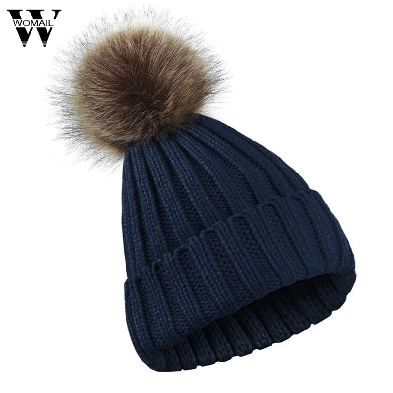 da615ca3f Winter Hat Detachable Faux fur Pom Poms Hats For Women Girl Knitted Beanies  Female Cap Solid Color 2017 New