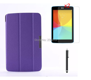 Ultra Slim Snow Flower MagSmart Leather Cover Case Stand + 2* Clear Screen Protector + Stylus For LG G Pad 7.0 V400 7