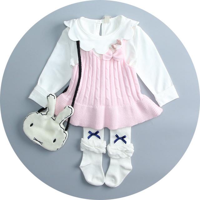 Calor! 2016 new meninas roupas de outono e inverno camisola colete gola V camisola do bebê 100% algodão mão de malha camisola frete grátis