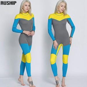 Image 4 - 새로운 3mm 품질 여성 탄성 꽉 네오프렌 잠수복 잠수복 컬러 스티칭 서핑 장비 해파리 의류 긴 소매