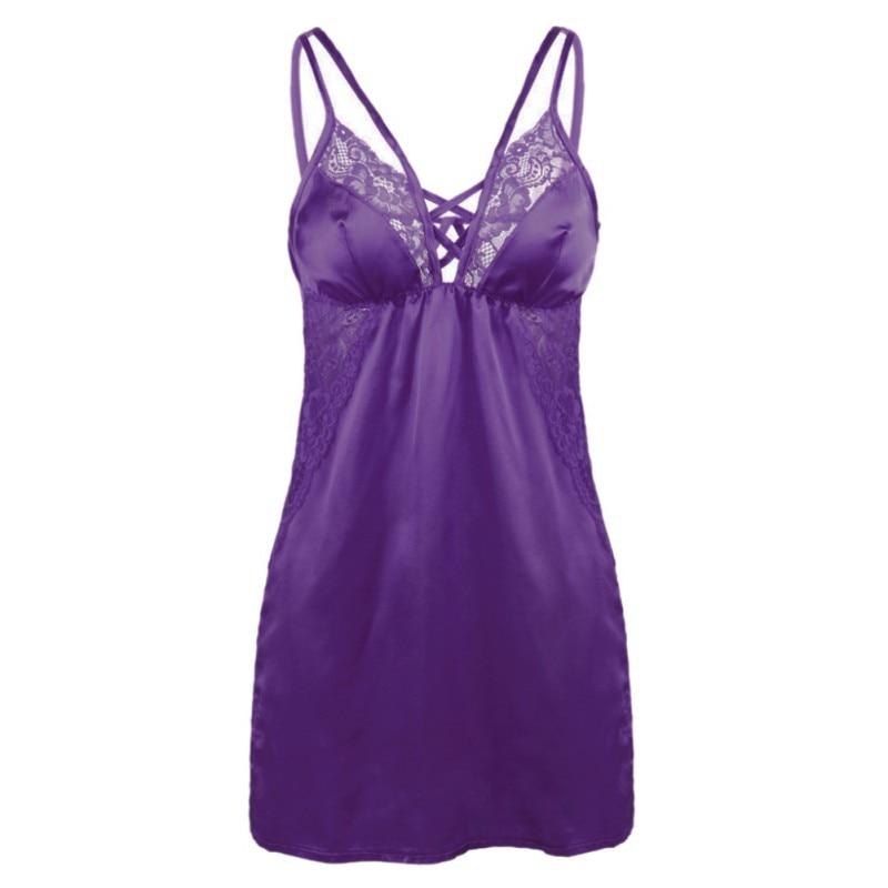 Women Sexy Lace Spaghetti Strap Sleeveless Mini   Nightgowns   Sexy Silk Suspenders   Sleepshirts