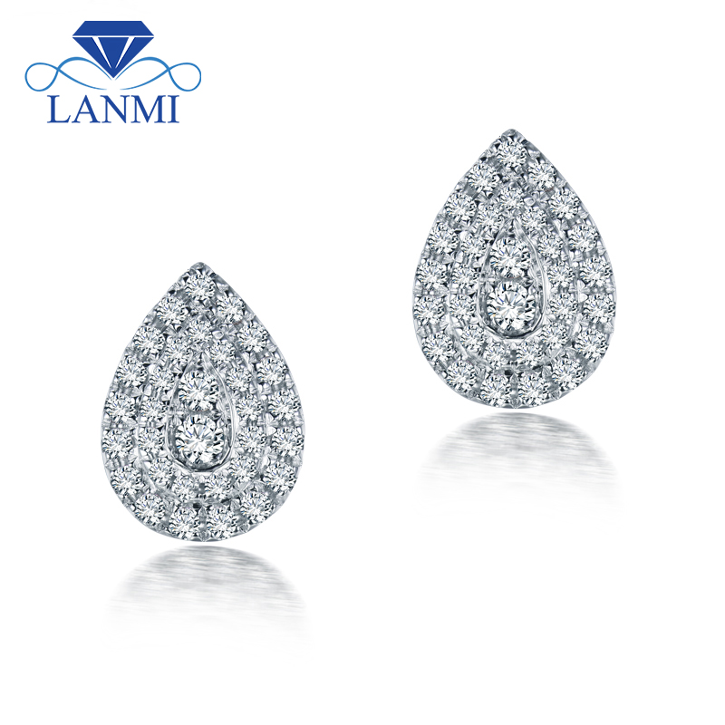 LANMI Real Solid 14K White Gold Pear Shape Natural Diamond Wedding Earring for Women Promised Jewelry цены онлайн