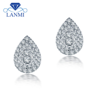 LANMI Real Solid 14K White Gold Pear Shape Natural Diamond Wedding Earring for Women Promised Jewelry