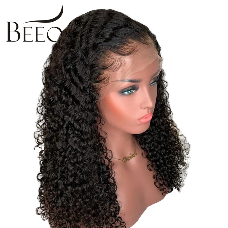 Beeos Curly Brazilian 13x6 Lace Front Human Hair Wigs Pre Plucked With Baby Hair Remy Hair Deep Part 180 Density Lace Front Wigs