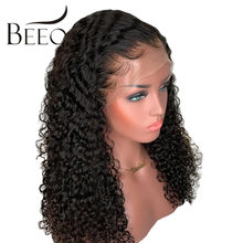 Beeos Curly Brazilian 13x6 Lace Front Human Hair Wigs Pre Plucked With Baby Hair Remy Hair Deep Part 180 Density Lace Front Wigs(China)
