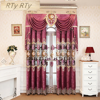 Chenille Purple Luxury elegance Embroidery Blackout curtains for living room French window high quality curtains for Kitchen