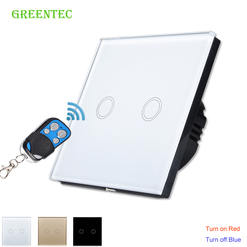 EU Standard Remote Control Touch Switch Remote Wall Light Switch With Cystal Glass Panel & LED Indicator,170~250v, Touch Switch eu standard sesoo wireless remote control touch switch 1gang 2gang 3gang 1way rf433 smart wall switch glass panel led indicator