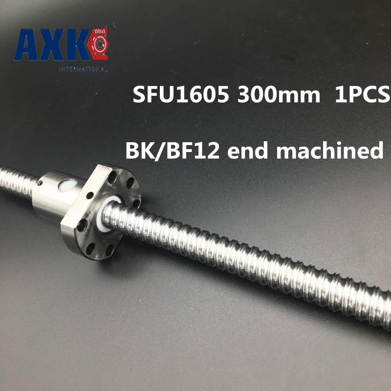2018 Axk Free Shipping Sfu1605 300mm Rm1605 Rolled Ball Screw 1pc+1pc Ballnut + End Machining For Bk/bf12 Standard Processing free shipping sfu1605 3 sfu1605 300mm rm1605 300mm c7 rolled ball screw 1pcs 1pcs ballnut cnc parts