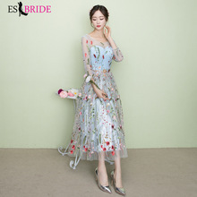 Water Blue Long Evening Dress Elegant Women O-neck Wedding Party Formal 2019 New Arrival Fashion Dresses ES1638