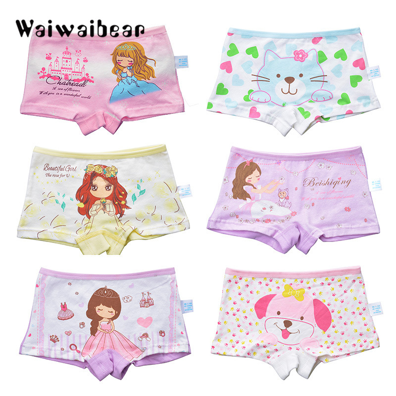 8Pcs/Packing Cotton Boxer Briefs Underwear Panties For Baby Girls And Cute Cartoon Panties Suitable For 3-8T Kids cute spaghetti strap floral tank top briefs swimsuit for girls