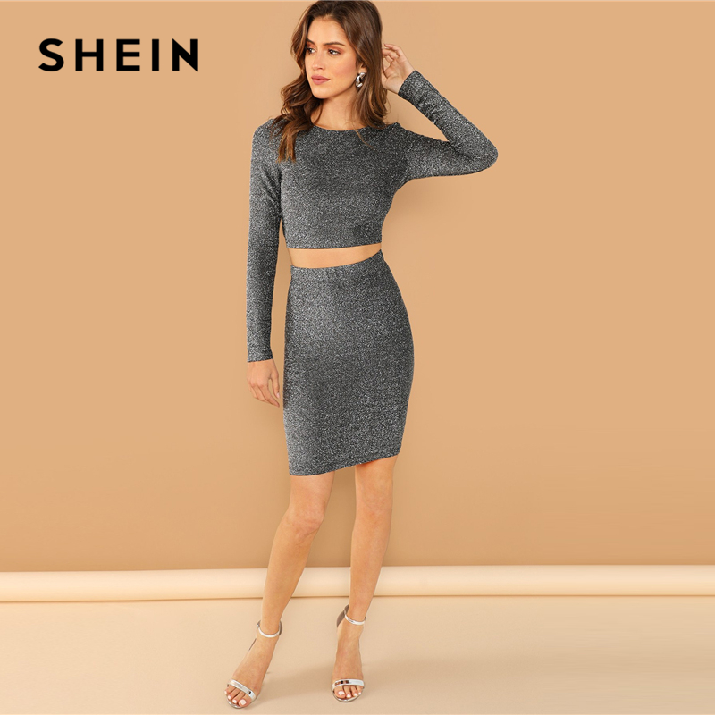 b750a56237a SHEIN Silver Plain Crop Form Fitting Glitter Top and Bodycon Skirt Set  Women Autumn Long Sleeve Round Neck Party Two Piece Sets-in Women's Sets  from Women's ...