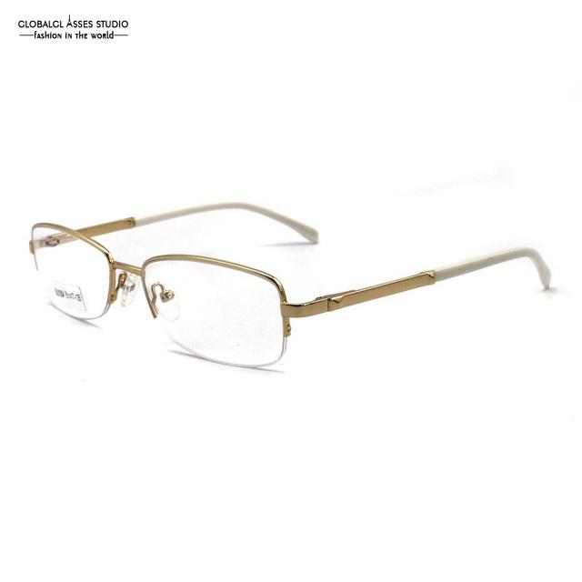 Elegante Metade Aro de Metal Armação de Óculos Arista Quadro Dobradiça de Mola Templo Óculos Ópticos Acetato Fino Ouro Branco SU1004 C4