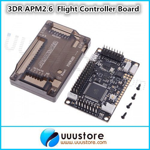 3DR APM2.6 ArduPilot Mega 2.6 External Compass APM Flight Controller Board with Pins and Protective Shell Black for Quadcopter apm 2 6 flight controller board ardupilot mega 2 6 version with side pin connector for multicopter