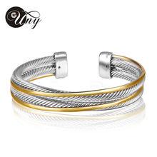 UNY moda Europea y Americana 2 Tono de oro plateado pulsera 2015 nuevo diseño de moda de la venta caliente Elegante Único Retro Cuff Bracele