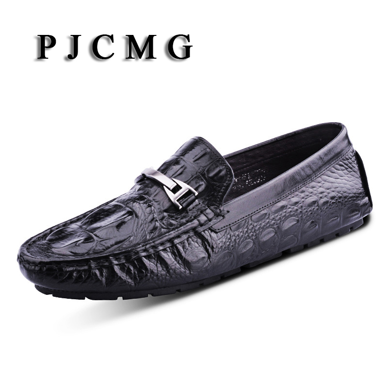 PJCMG Spring/Autumn Black/Red Slip-On Crocodile Metal Style Casual Men Genuine Leather Moccasins Loafers Men Driving Shoes 2017 spring autumn casual genuine leather breathable men shoes han style tide fashion men manual waterproof slip on drive shoes
